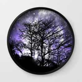 Black Trees Lavender Gray Space Wall Clock