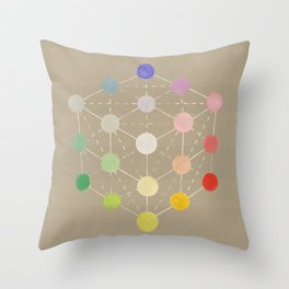 Colour cube (white point) from the Manual of the science of colour by W. Benson, 1871, Remake, vinta Throw Pillow