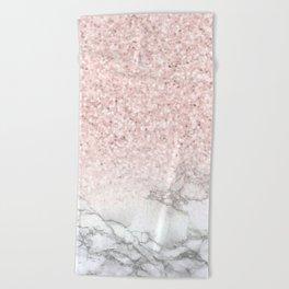 Pretty Rosegold Marble Sparkle Beach Towel