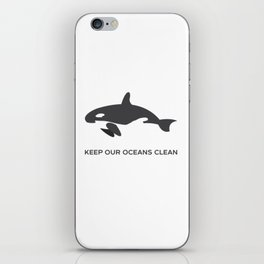 Keep Our Oceans Clean Orca On A Blue Wave Background iPhone Skin