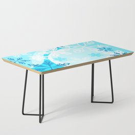 Blue Flower Art Winter Holiday Coffee Table