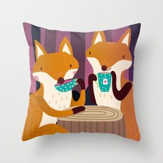 Tea time in the woods Throw Pillow