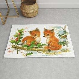 Cute Vintage Christmas Foxes Rug
