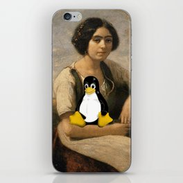 Corot Master piece with Linux Tux Penguin  iPhone Skin