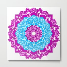 Orchid and ice blue mandala Metal Print
