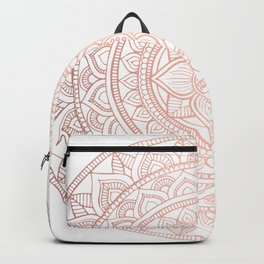 Hand Drawn Bali Mandala - Rose Gold Backpack
