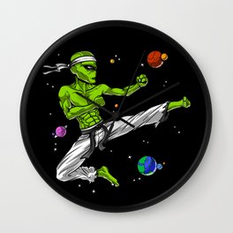 Space Alien Karate Ninja Wall Clock