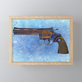 Colt Python 357 Magnum on Blue Back Ground Framed Mini Art Print