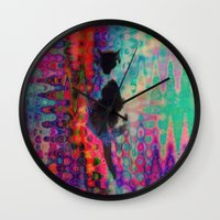 kit king Wall Clocks featuring Kit Kat by aeolia