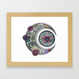 Spiral floral moon Framed Art Print