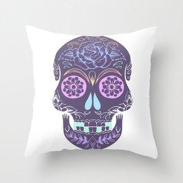 Day of the Dead Pastel Skull (Dia de los Muertos) Throw Pillow