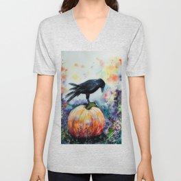 Pumpkin &  Crow Watercolour Painting Unisex V-Neck