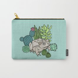 Toad with Succulents - Turquoise Carry-All Pouch