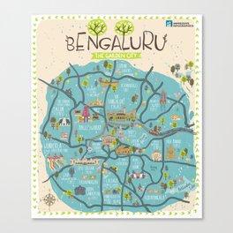 Bangalore City Map Canvas Print
