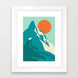 As the sun rises over the peak Framed Art Print