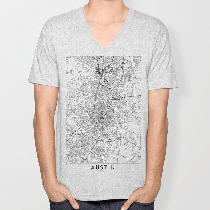 Austin White Map Unisex V-Neck