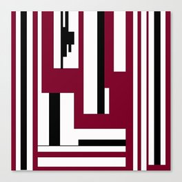 LINE PRINT WITH BLACK AND BURGUNDY Canvas Print
