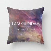 gundam Throw Pillows featuring Gundam Retro Space 2 by Stefan Trudeau