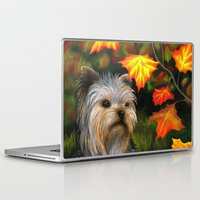 yorkie Laptop & iPad Skins featuring Yorkie dog by ArtbyLucie