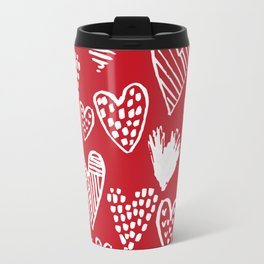 Herats red and white pattern minimal valentines day cute girly gifts hand drawn love patterns Travel Mug