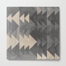 Geometric triangles abstract pattern - Gray tones & Beige Metal Print