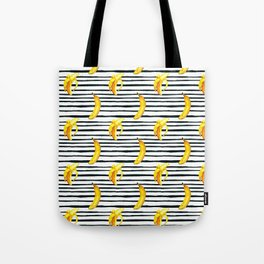 Hand painted yellow black watercolor bananas stripes pattern Tote Bag