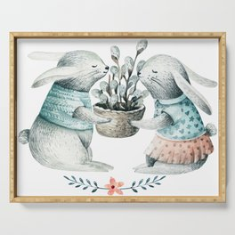 Pair of Easter bunnies with spring flowers basket Serving Tray