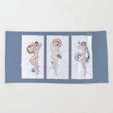 Superhero Pinup Heroic Nude Trio (Stark Spangled Winter) Beach Towel