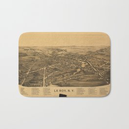 Aerial View of Le Roy, New York (1892) Bath Mat