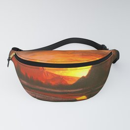Classical Masterpiece 'Sunset in the Yosemite Valley' by Albert Bierstadt Fanny Pack