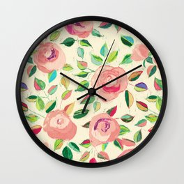 Pastel Roses in Blush Pink and Cream  Wall Clock
