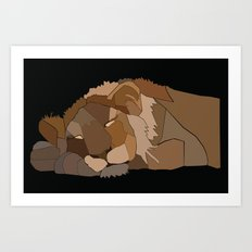 Sleepy Lion Art Print