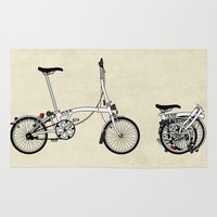 brompton Area & Throw Rugs featuring Brompton Bicycle by Wyatt Design