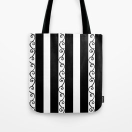 Stripes and Thorny Vines by Dark Decors - Black and Whites Tote Bag
