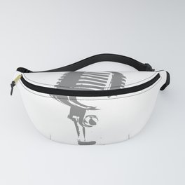 Microphone Silhouette Grey Fanny Pack