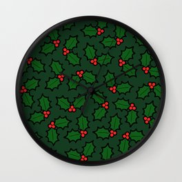 Holly Leaves and Berries Pattern in Dark Green Wall Clock