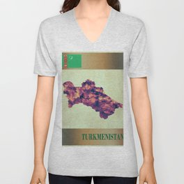 Turkmenistan Map with Flag Unisex V-Neck