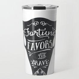 Fortune Favors the Brave Skull Travel Mug