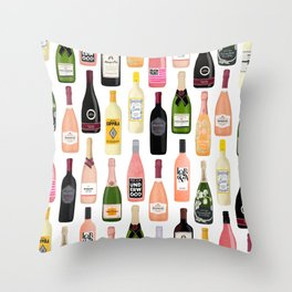 Wine & Champagne Bottles Throw Pillow
