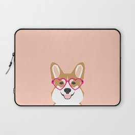 Corgi Love - Valentines heart shaped glasses on funny dog for dog lovers pet gifts customizable dog  Laptop Sleeve