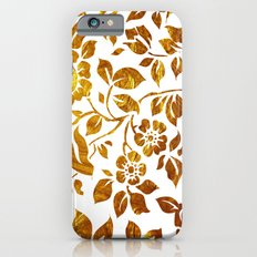 Gold flowers iPhone 6 Slim Case
