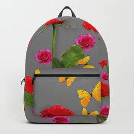 RED &  FUCHSIA PINK ROSES YELLOW BUTTERFLIES ABSTRACT Backpack