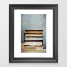 stack of books Framed Art Print