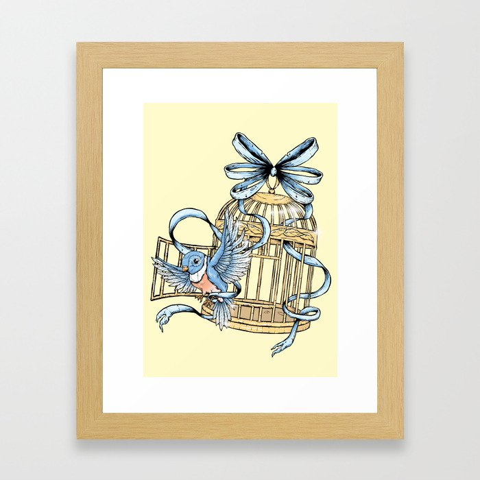 Bird with Cage Framed Art Print