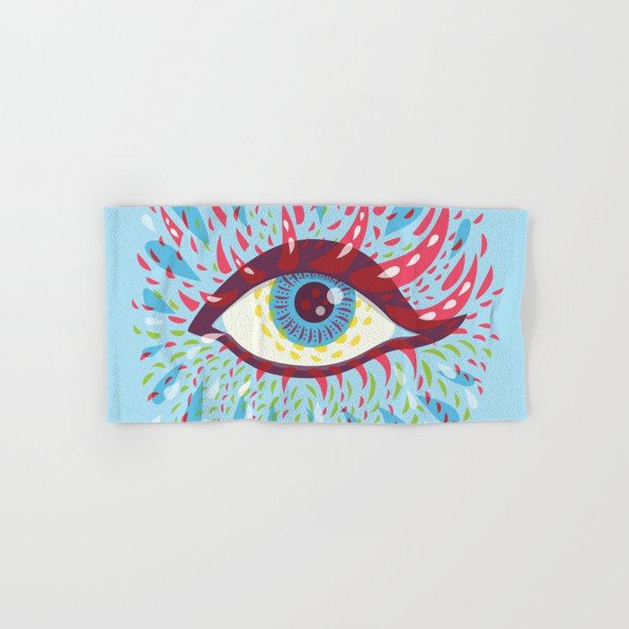 Weird Blue Psychedelic Eye Hand & Bath Towel