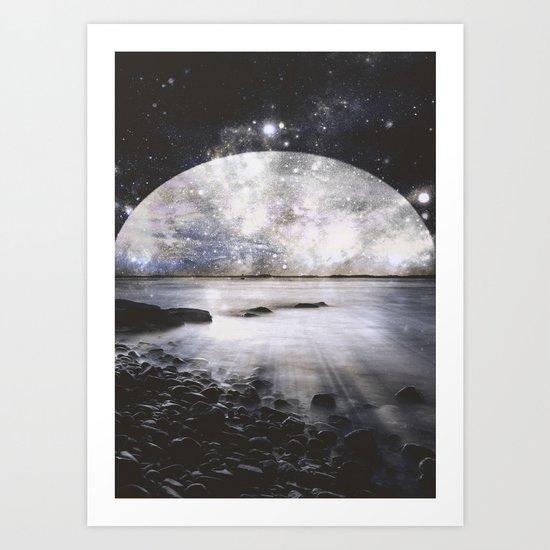Mystic Lake Dark & Gray Art Print