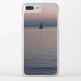 Tropical sea sunset Clear iPhone Case