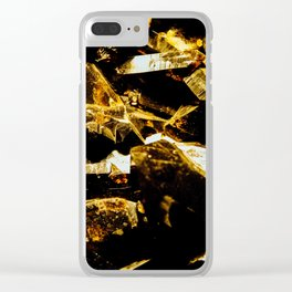 Black and Gold Tourmaline Clear iPhone Case