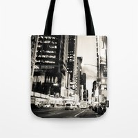 broadway Tote Bags featuring Broadway Avenue by aldasilva