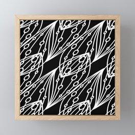 White molecular helix with diagonal circles on a black background. Framed Mini Art Print